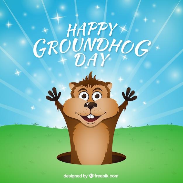 Cartoon groundhog day background Vettore gratuito