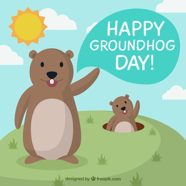 Cartoon groundhogs illustrazione Vettore gratuito
