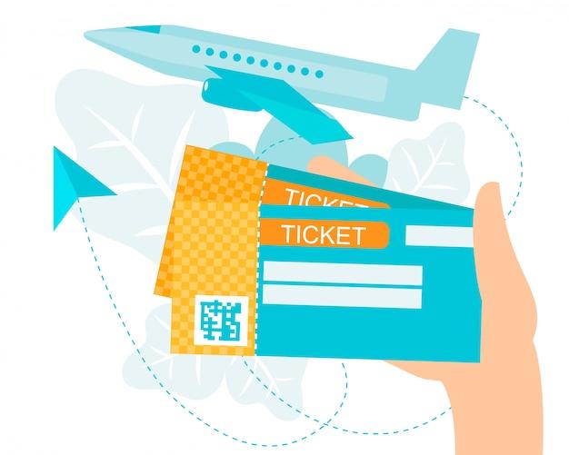 Cartoon homan hand holding air ticket con codice qr Vettore Premium