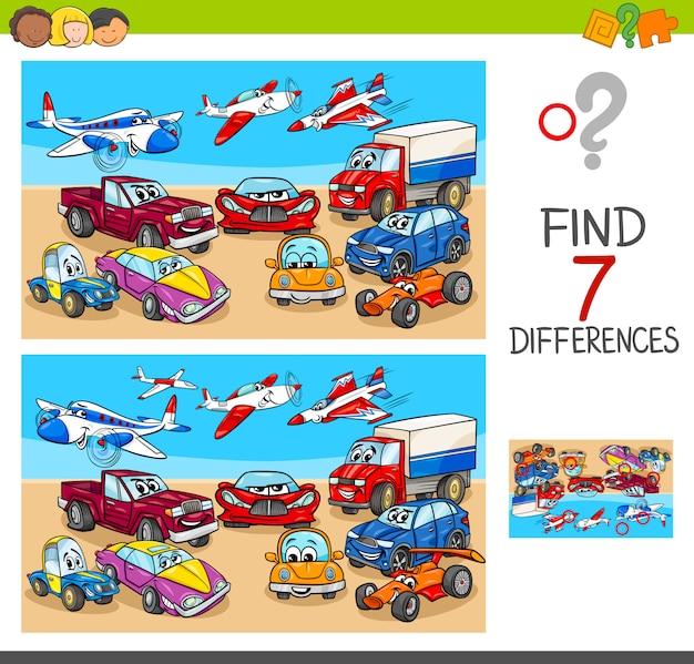 Cartoon illustration of differences gioco per bambini Vettore Premium