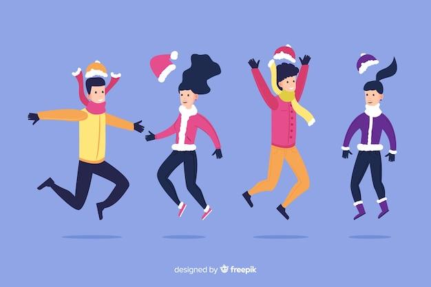 Cartoon indossando abiti invernali con le ombre Vettore gratuito