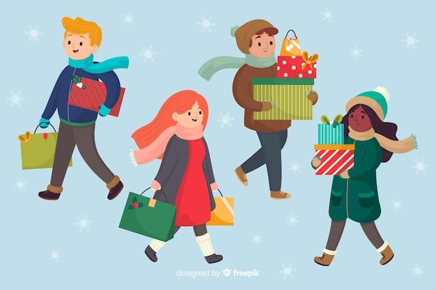 Cartoon indossando abiti invernali e portando regali Vettore gratuito