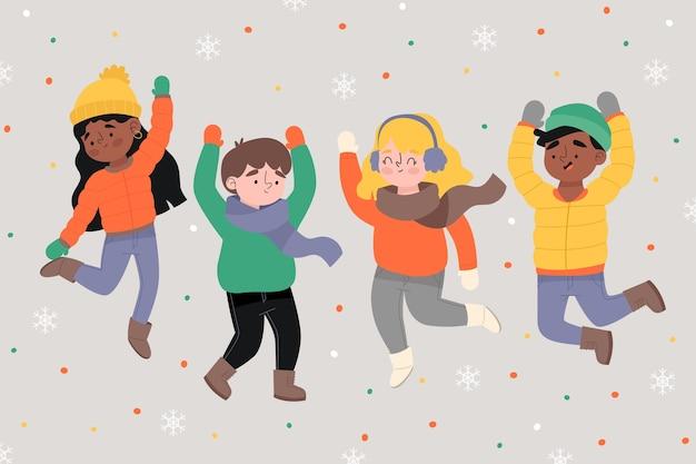 Cartoon indossando abiti invernali e saltare Vettore gratuito