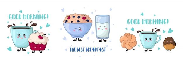 Cartoon kawaii food - torta di ciliegie, porridge, latte, biscotti Vettore Premium