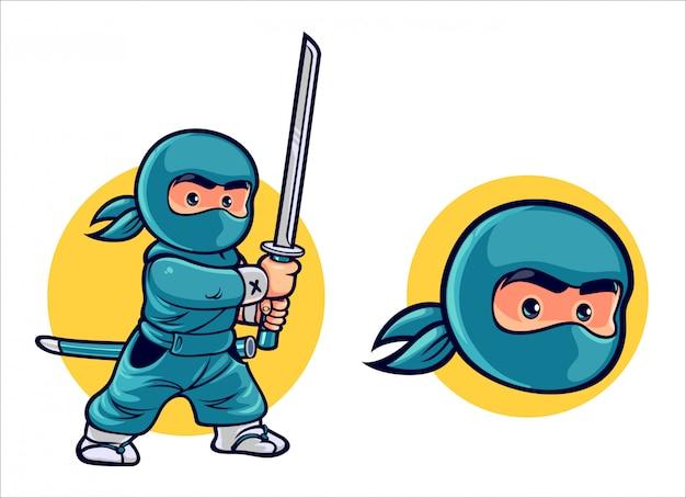 Cartoon kid ninja Vettore Premium