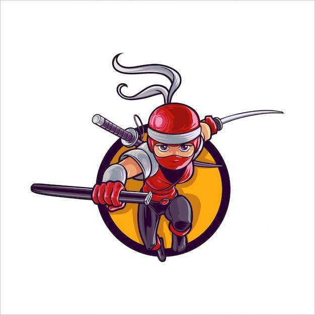 Cartoon lady ninja Vettore Premium