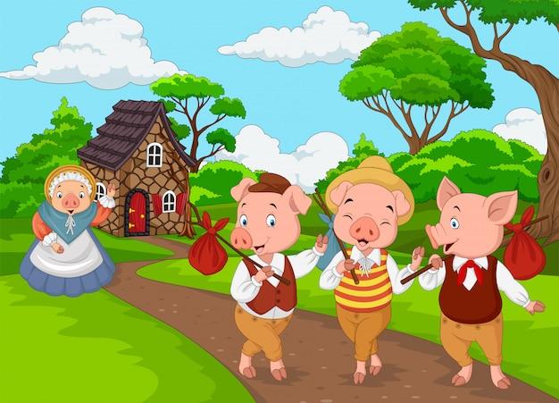 Cartoon maiale madre con tre maialini Vettore Premium