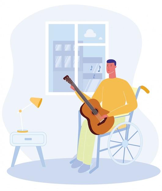 Cartoon man sit sedia a rotelle con chitarra suonare musica Vettore Premium