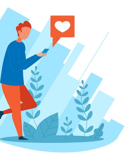 Cartoon man social networking e dare come Vettore Premium