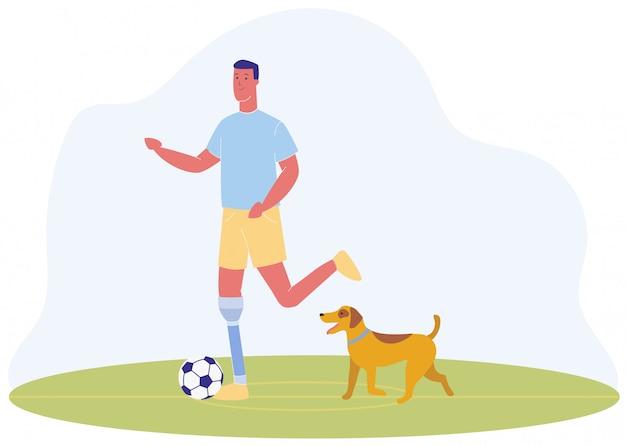 Cartoon man with prosthetic leg play football dog Vettore Premium