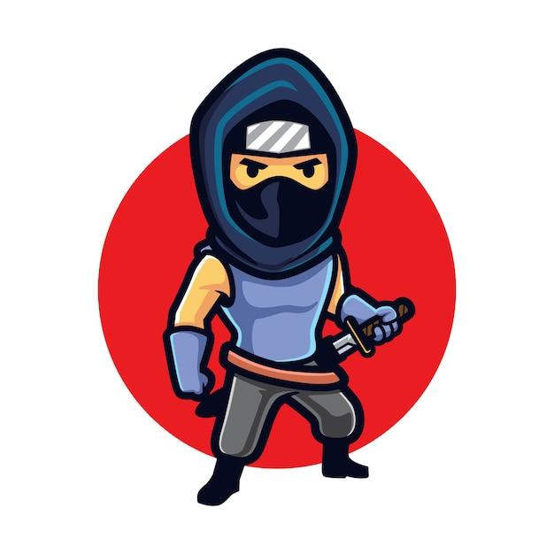 Cartoon ninja furtiva Vettore Premium