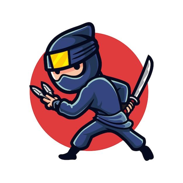 Cartoon ninja night Vettore Premium