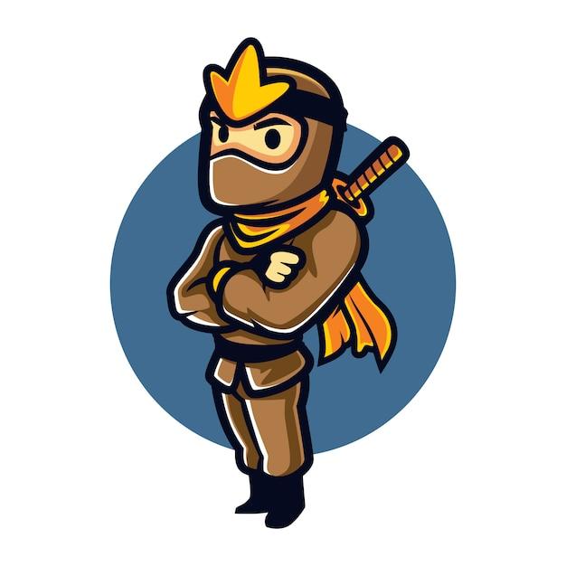 Cartoon ninja steady mascot Vettore Premium