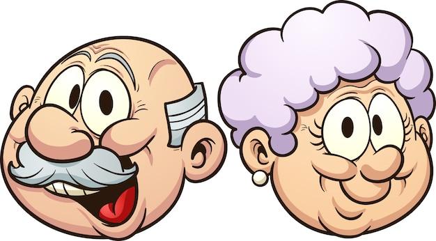 Cartoon nonni illustrazione Vettore Premium