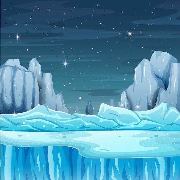 Cartoon paesaggio invernale con iceberg Vettore Premium