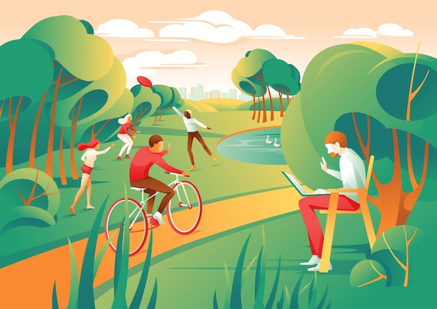 Cartoon people city park gioca a frisbee ride bicycle Vettore Premium