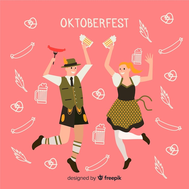 Cartoon persone che ballano al più oktoberfest Vettore gratuito