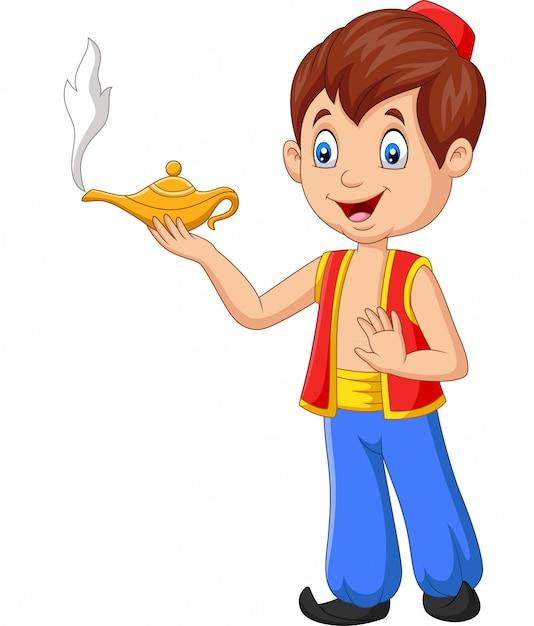 Cartoon piccolo aladdin tenendo la sua lampada magica Vettore Premium