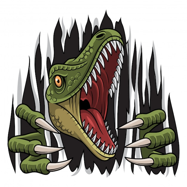 Cartoon raptor mascot strappo Vettore Premium