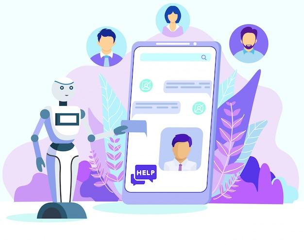 Cartoon robot aiuta il cliente sullo schermo del cellulare Vettore Premium