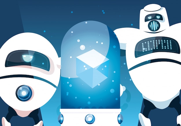 Cartoon robot sopra l'azzurro Vettore Premium