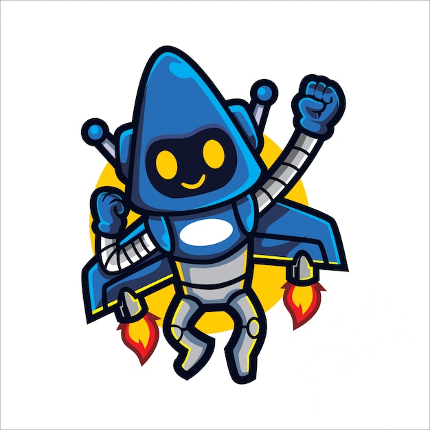 Cartoon rocket bot Vettore Premium
