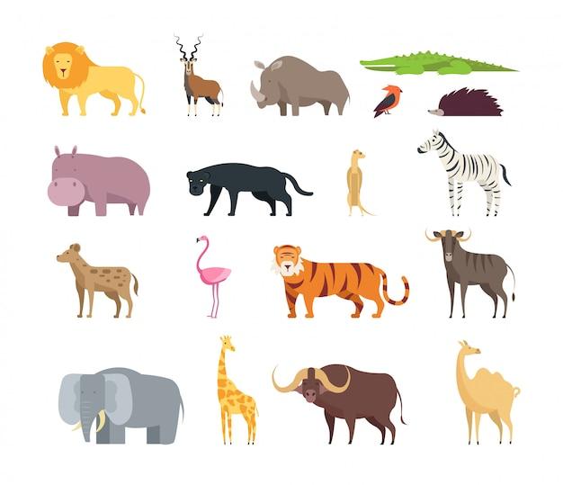 Cartoon savana africana animali. Vettore Premium
