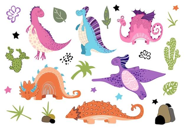 Cartoon set di dinosauri in stile scandinavo Vettore Premium
