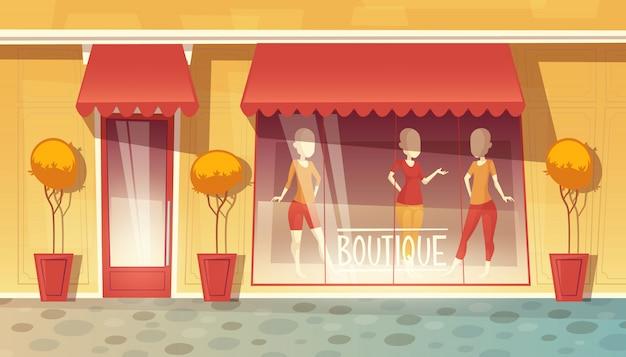 Cartoon vetrina della boutique, mercato dell'abbigliamento. centro commerciale commerciale con alberi in vasi Vettore gratuito