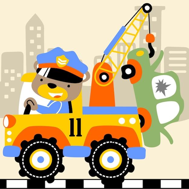 Cartoon vettore camion da rimorchio Vettore Premium
