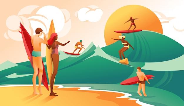 Cartoon woman man with surfboard persone surf wave Vettore Premium