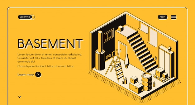 Casa architetto, società di design isometrico banner web vettoriale, modello di pagina di destinazione. Vettore gratuito