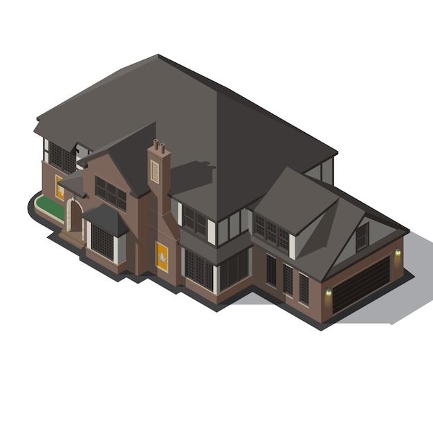 Casa decorata in stile a graticcio. Vettore Premium