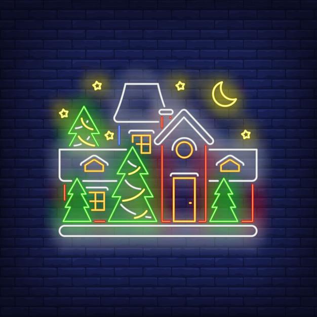 Casa decorata in stile neon Vettore gratuito