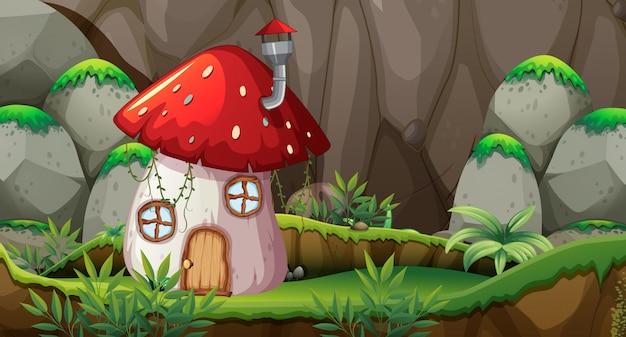 Casa dei funghi in natura Vettore Premium