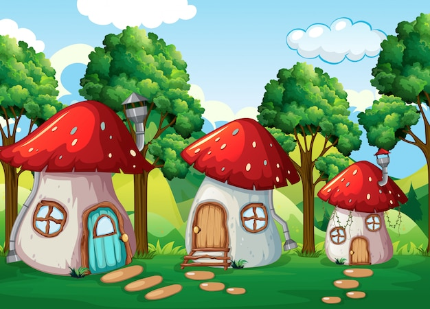 Casa dei funghi incantata in natura Vettore Premium