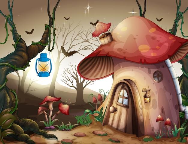 Casa dei funghi nella foresta oscura Vettore Premium