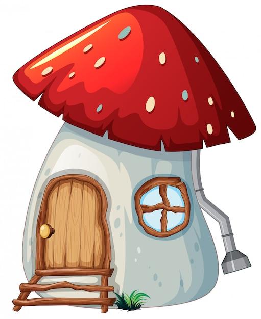 Casa dei funghi su backgroud bianco Vettore gratuito