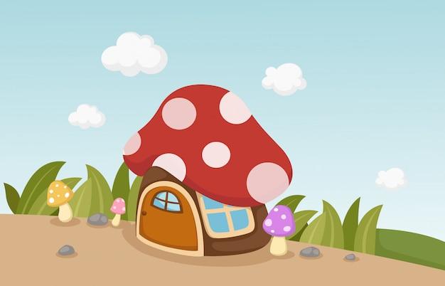 Casa dei funghi Vettore Premium