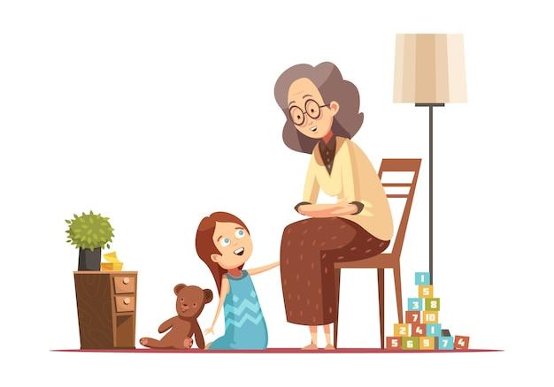 Casa della nonna che parla con piccola nipote con la retro illustrazione di vettore del manifesto del fumetto del carattere senior della donna di teddybear Vettore gratuito