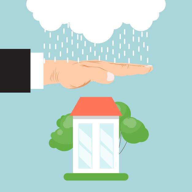 Casa di assicurazione di proprietà. assicurazione immobiliare, assistenza domiciliare, servizio di protezione della proprietà. mano dell'assicuratore che protegge casa dalla pioggia. Vettore Premium