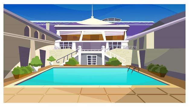 Casa di campagna con l'illustrazione della piscina Vettore gratuito