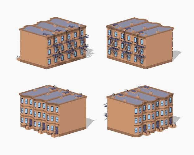 Casa di città bassa poli brownstone Vettore Premium