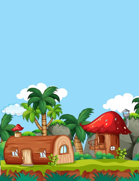 Casa di legno di funghi in natura Vettore Premium