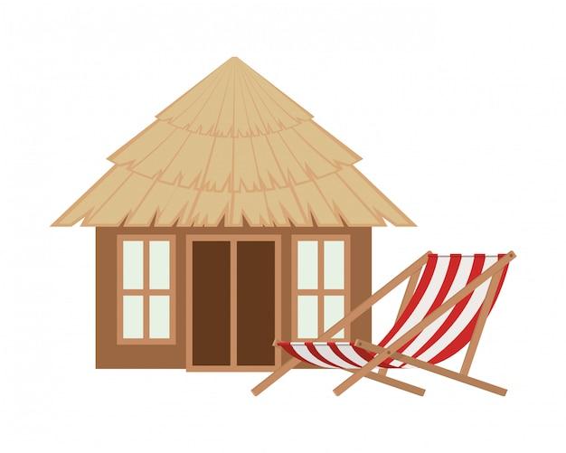 Casa di legno sulla spiaggia Vettore gratuito