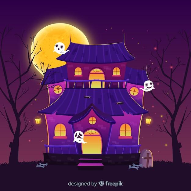 Casa e fantasmi cartoon casa di halloween Vettore gratuito