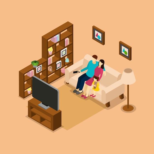 Casa famiglia guardando banner isometrica tv Vettore gratuito