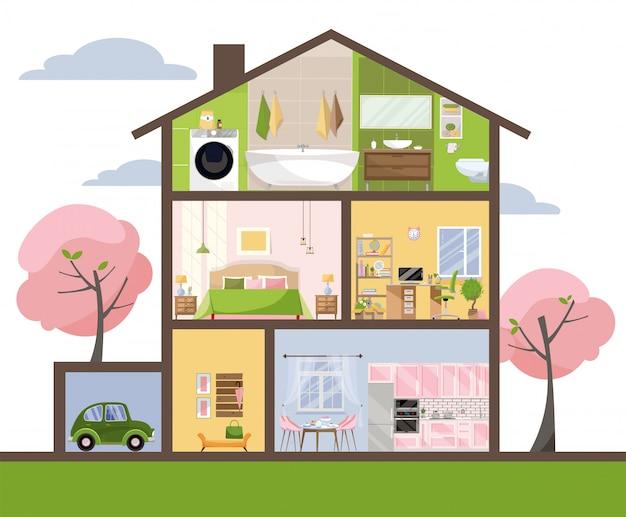 Casa in taglio. interni dettagliati set di camere con mobili. Vettore Premium