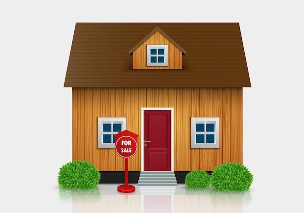 Casa in vendita illustrazione Vettore Premium