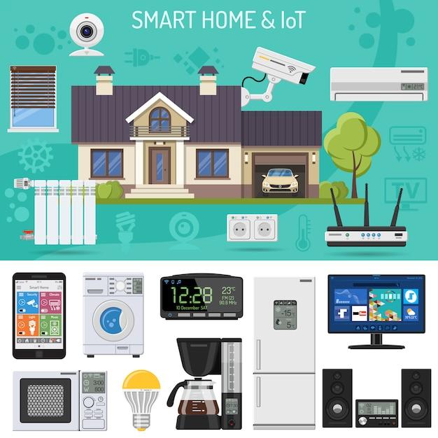 Casa intelligente e internet delle cose Vettore Premium